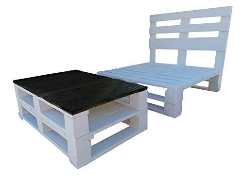 Muebles con palets - 1 x Estructura de Sofa con Palets + 1 mesa de pallets color Blanco para Exterior Interior Jardin Terraza, Patio, Balcon