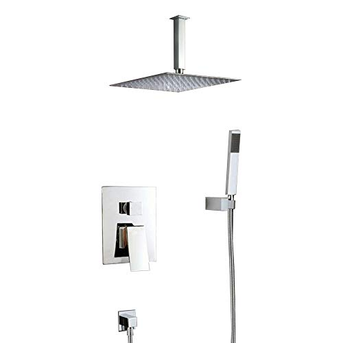 Ceiling Mounted Shower Faucets Sets Complete with 12 Inch Solid Brass Shower Head and Handle Sets Rain Mixer Shower Combo, Chrome Finish