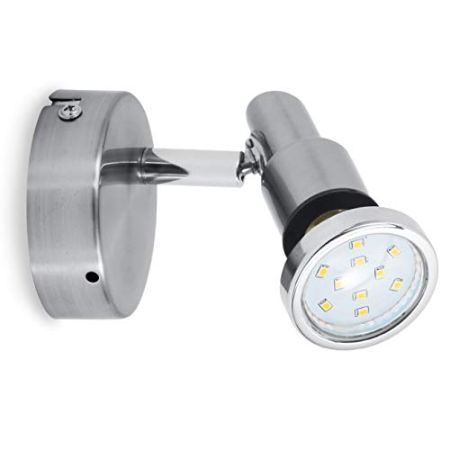B.K.Licht applique LED, lampe pour salle de bain, plafonnier 1 spot orientable, GU10, 5W, IP44