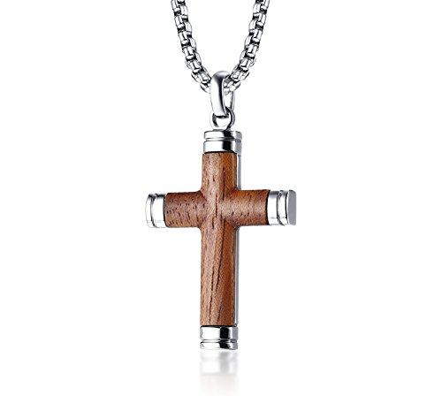 VNOX Two-Tone Stainless Steel Brazil Rosewood Wood Christian Baptism Jesus Cross Pendant Necklace for Men,24' Rolo Chain