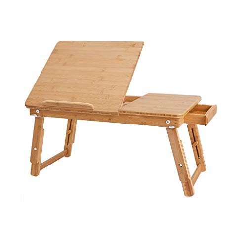 Laptop Desk for Bed Sofa with Adjustable Tilting Top, Breakfast Serving Tray with Folding Legs,Floor Desk, 100% Bamboo Nature 0919