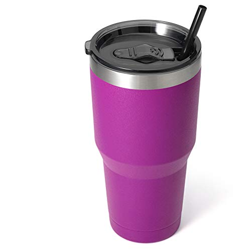 Zibtes 30oz Insulated Tumbler With Lids and Straws, Stainless Steel Double Vacuum Coffee Tumbler...