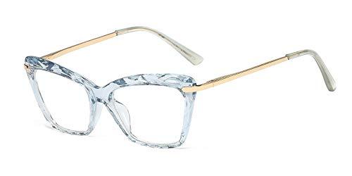 ZEVONDA Occhiali da Vista Donna - Classico Vintage Occhio di Gatto Crystal Lente Trasparente Moda Grandi Montatura, Azzurro