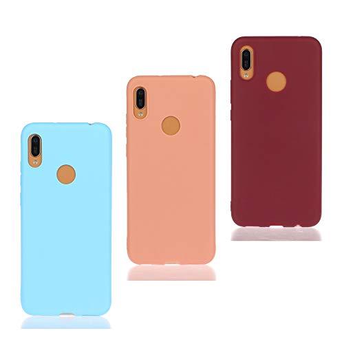 HopMore 3 Pack pour Coque Huawei Y6 2019 / Honor 8A Silicone Souple Étui Motif Couleur Etui Huawei Y6 Pro 2019 Mince Antichoc TPU Case Housse Fine pour Femmes Fille Hommes - Rose Bleu Vin Rouge