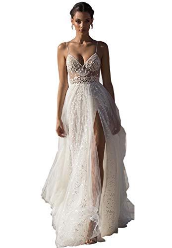 Kelaixiang Beach Wedding Dresses Side Split Spaghetti Illusion Sexy Boho Wedding Gowns Sweep Train Pearls Backless White