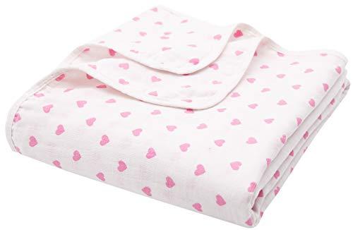 ZOLLNER Manta de muselina para bebé de 2 capas, 120x120 cm, corazones rosas