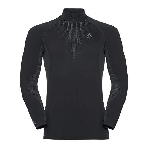 Odlo Bl Top Turtle Neck L/S Half Zip Performa Camiseta, Hombre, Black - odlo Concrete Grey, M