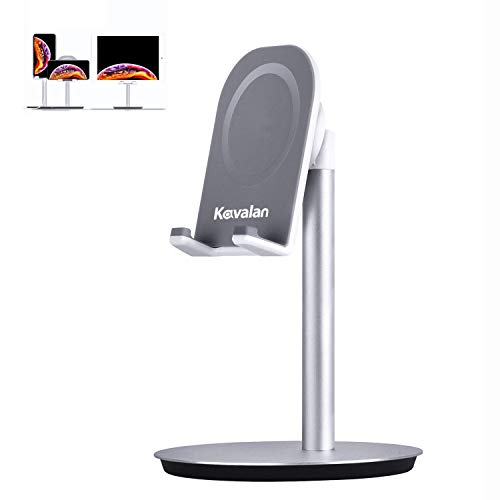 Kavalan Adjustable Tablet Stand, Aluminum Desktop Cellphone Stand Holder Dock for iPhone iPad Pro Kindle Switch and Tablet (up to 10.5 inches), Multi Angle & Ergonomic Height Design (Silver)