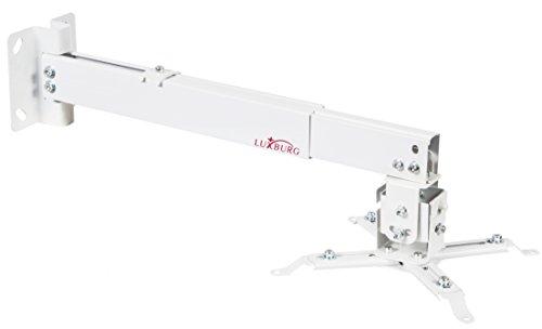 Luxburg Supporto a Muro/soffitto Universale in Alluminio per Montaggio proiettore 100-180cm Tiene 15kg 30 Gradi - Bianco