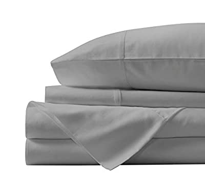 "Boston Linen Co. Sheet Set-1800 Ultra-Soft Microfiber Bed Sheets- Double Brushed Breathable Bedding Bedsheet Set with 15"" Deep Pocket, Hypoallergenic & Wrinkle Resistant (Light Grey, King)"