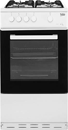 Beko KSG580W 50cm Single Cavity Gas Cooker in White 4 Hotplate Burners