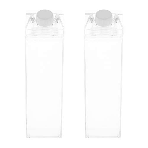 Cabilock 2 Stück Quadratische Milchflaschen Tragbarer Wassersaft Klar Nachfüllbare Leere Plastikflaschen Sportreise Auslaufsichere Wasserflasche für Home Shop 500Ml
