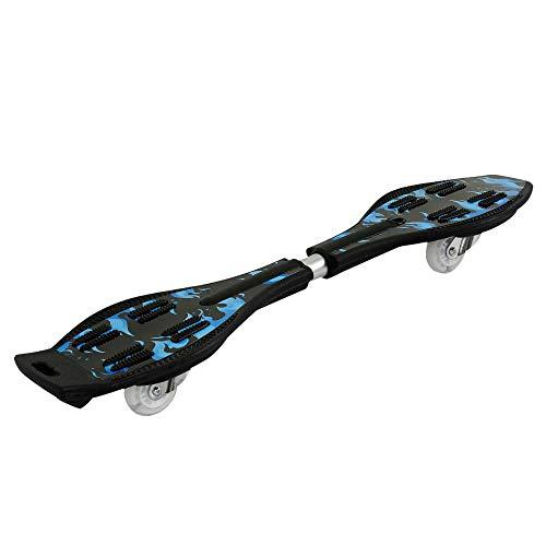 You's Auto Caster Board waveboard, mit 360 Degree Caster Trucks und Anti Slip Skateboard bis 90KG belastbar,Longboard mit leuchtenden Rädern, 86 * 22 * 11 cm (Blaue Flamme + Schutzausrüstung)