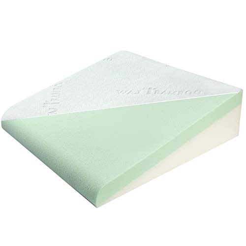 WAJ 7.5 Inch Bed Wedge Pillow for Sleeping- Memory Foam Support Cushion for Lower Back Pain & Acid Reflux- Sleep Leg Elevation Pillow with Removable Bamboo Cover, Mint Green