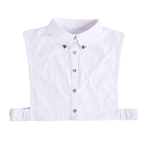 EQLEF Detachable Collar for Women, White Elegant False Half Shirt Collar for Women with Stylish and Lightweight Design (L)