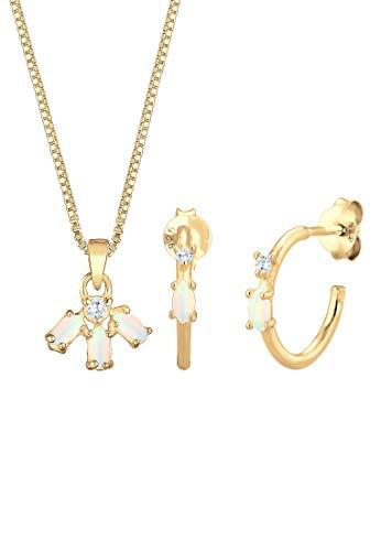 Elli Schmuckset Box Chain Kette Creolen Opal Zirkonia 925 Silber
