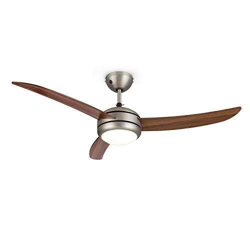 """Klarstein El Paso Deckenventilator - Durchmesser: 52\"""" (132 cm), 3 Flügel, Deckenlampe mit E27-Sockel, 2 Laufrichtungen, 3 Geschwindigkeitsstufen, Fernbedienung, dunkle Eichenholz-Optik"""