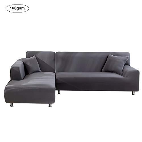 NIBESSER Sofabezug für L-Form Sofa 160gsm Dick Sofaüberwürfe Elastisch Stretch Sofabezug (Grau, 2 sitzer+3 sitzer)