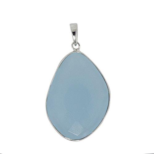 forma de lujo aqua calcedonia piedra preciosa 925 bisel de plata colgante conjunto