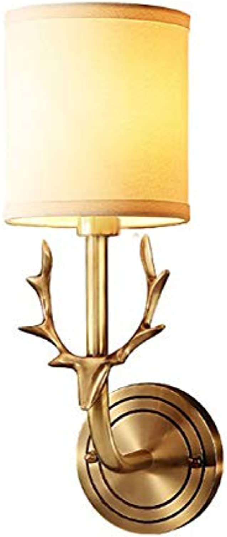 PeiQiH Messing Wandleuchte, E27 Kupfer Halter Stoff Schatten Hardwirot Kreative Wandmontag Leuchte Für Wohnzimmer Schlafzimmer Gnge Speisezimmer-1 Licht 13x6x38cm
