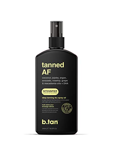 b.tan tanned AF... intensifier tanning oil for outdoor sun with 7 ultra moisturizing body oils to keep your skin hydrated AF - suntan oil, tanning oil spray, browning lotion, bronzer tan oil, 8 fl oz