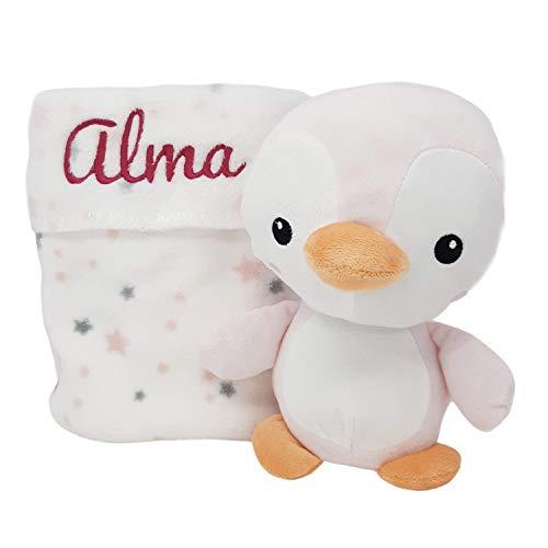 Mababyshop- Set Manta y Peluche Personalizado Pingüino, para regalo de recién nacido | Detalles de Nacimiento Personalizados (Rosa)
