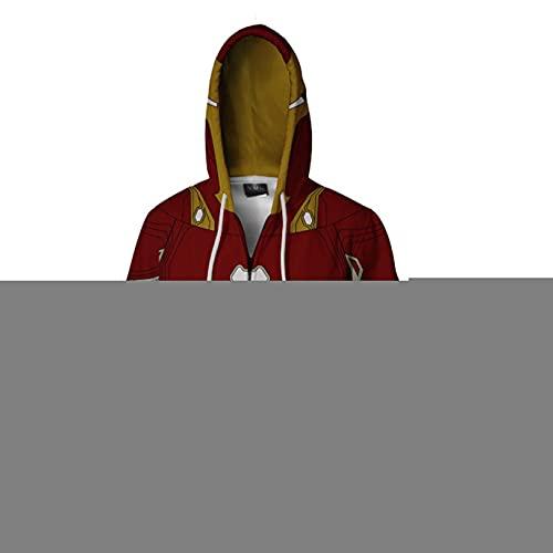 Hierro hombre cremallera sudadera con capucha impresión 3d niños ropa exterior Tops niños manga larga sudadera para el carnaval de Halloween Cosplay Chaqueta con capucha Disfraz,Iron Man-Adults(4XL)