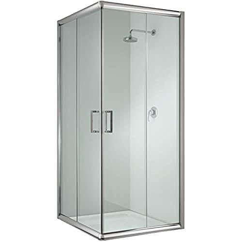 Cabina de ducha cuadrada de 75 x 75 x 185 cm, transparente, 6 mm de grosor