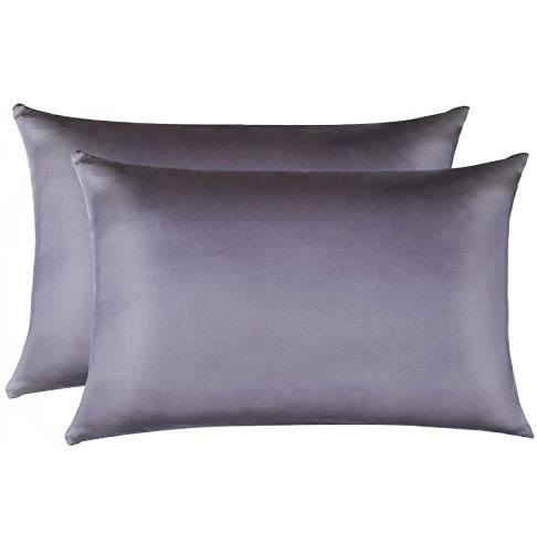 Jocoku 100% Mulberry Silk Pillowcases Set of 2 for Hair and Skin and Super Soft and Breathable King Size Nature Silk Pillowcases (Toddler, Gray)