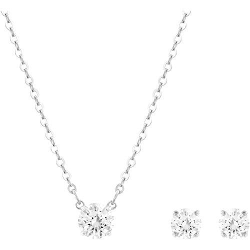 Swarovski Set Attract Round da Donna, Placcato Rodio, Bianco