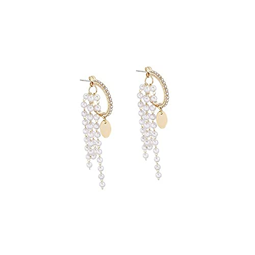 S925 Silver Needle Water Drill Geometric Semi-round Earrings Long Pearl Flowing Earring Temperament Show Thin Back Hanging Earrings