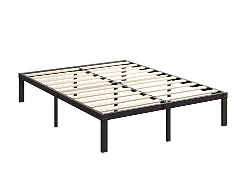 Heavy Duty Metal Bed Frame with Strengthen Wood Slats Support, 14 Inch Noise Free& Anti-Slip Durable Steel Platform with Simple Style, No Box Spring Required, 3800lbs Limited (Full, 14)