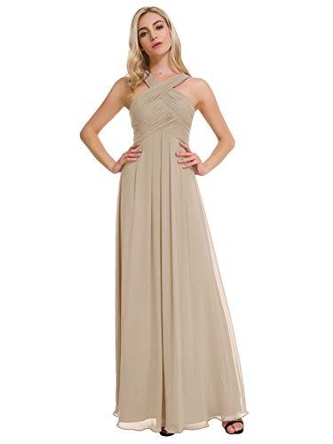 Alicepub Crisscross Neck Bridesmaid Dress Chiffon Long Formal Dresses for Women Party Evening, Biscotti, US14