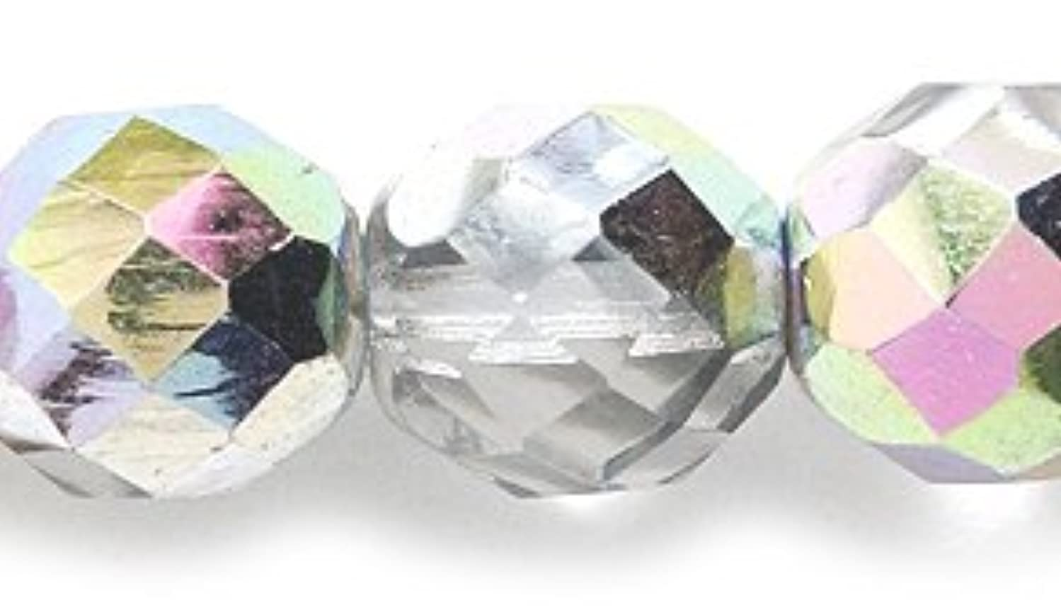 Preciosa Czech Fire 10mm Polished Glass Bead, Faceted Round, Crystal Vitrail, 60-Pack