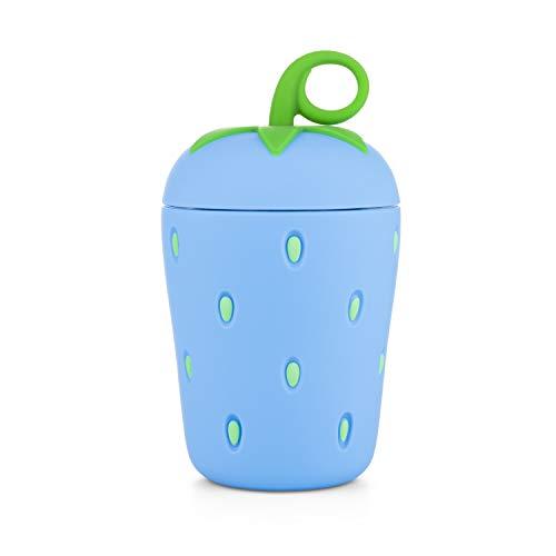APIKA Linda Botella de Agua de Vidrio de Fresa Borosilicato de Pared Doble 300 ml Fácil de Llevar Adecuado para Regalos y Unisex para niño(Azul)