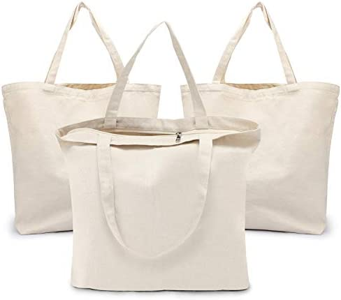 Blank Tote Canvas Bag with Zipper Segarty 3 PC 19 7x15 7 inch Cotton Bags with Handles 12 Oz product image