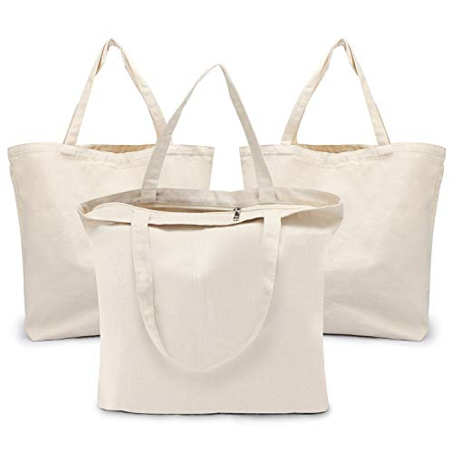 Blank Tote Canvas Bag with Zipper, Segarty 3 PC 19.7x15.7 inch Cotton Bags with Handles, 12 Oz Heavy Duty Reusable Washable Grocery Shopping Bags Plain Bags for Teacher DIY Art Craft Paint Embroidery