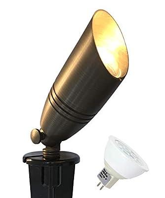 GKOLED UL Listed Solid Brass Landscape Spotlight, Low Voltage Outdoor Directional Uplight, with 5W MR16 LED Bulb & Large Rugged Slot Spike, 12V AC/DC Garden Patio Spot Up Light