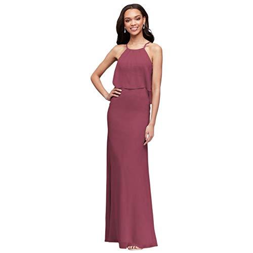 David's Bridal Flounced Crinkle Chiffon Sheath Bridesmaid Dress Style F19773, Chianti, 4