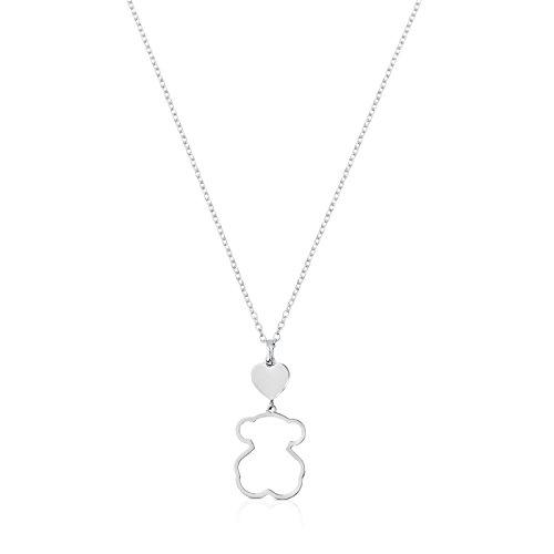 TOUS New Silueta - Collar de Plata de Primera Ley con Colgante de Oso - Largo 45 cm, Corazón 0,84 cm y Silueta Oso 1,9 cm