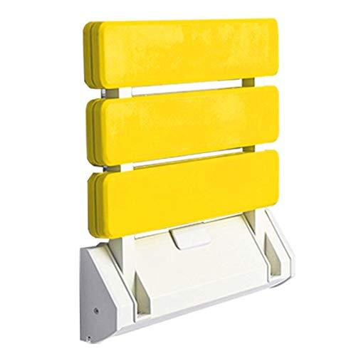 ZUQIEE Silla Plegable plástica Taburete de baño montado en la Pared Asientos de Ducha Inodoro Banco Relajante para el Vestuario de Ducha (Color : Yellow)