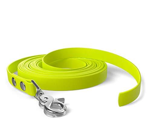 SNOOT 5m Schleppleine, Hundeleine, 1 Karabiner, Neon-Gelb, sehr stabil, schmutz- und wasserabweisend