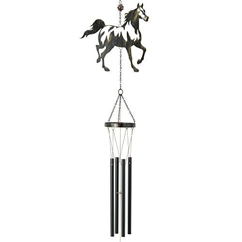 Bits and Pieces - Pferde Windspiel mit Glocke - über 90cm lang - Klangspiel, Gartendeko, Balkon und Terrasse Deko, für Innen und Aussen - Wandbehängung, Fensterdekoration