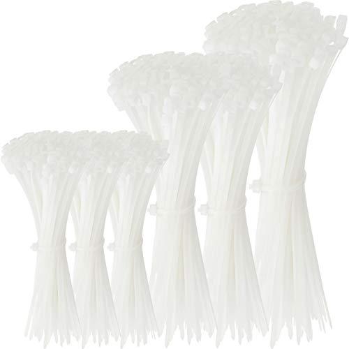 300 Bridas de Cables de Tarea Pesada de Longitud Variada de 16/12/8 Pulgadas Sujetador de Alambre Autoblocante de Nylon, Envoltura Lazos con Cremallera Extra Grande Larga y Ancha (Blanco)