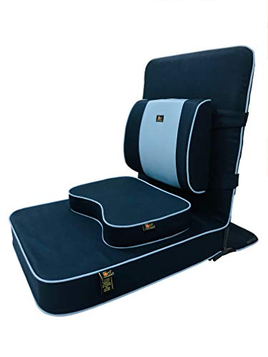 Friends of Meditation Extra Large Relaxing Buddha Meditation and Yoga Chair with backsupport and Meditation Block (Navy Blue, Pack of 1)