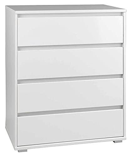 Möbel Jack Schubladenkommode Sideboard Anrichte   Dekor   Weiß matt   4 Schubladen   80x103x48 cm