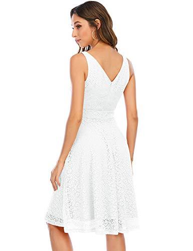 Kleid Damen Damen Kleider Abendkleider Gelb kurz Rockabilly Kleider Damen Vintage Kleid Kleid Hochzeit gast cocktailkleid festliches Kleid mädchen White S