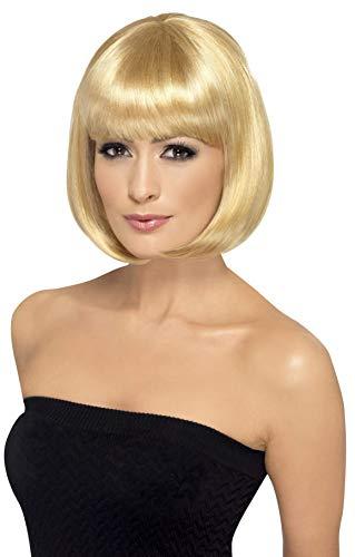 Smiffys Perruque Partyrama, 12 pouces, blond foncé, bob court avec frange Taille Unique
