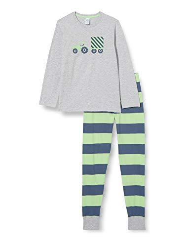 Sanetta Jungen Schlafanzug lang grau Pyjamaset, hellgrau Melange, 128