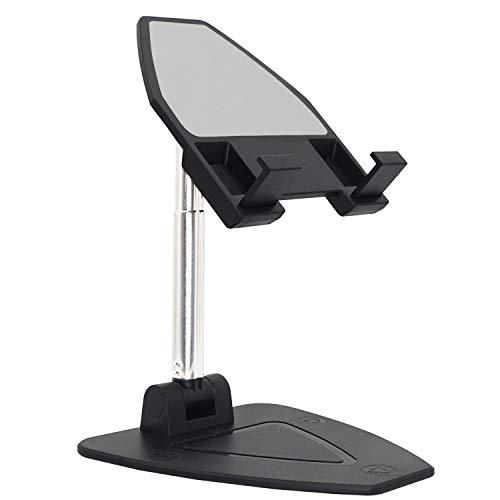 Honglei Soporte plegable para teléfono móvil, GELRHONR en ángulo de altura ajustable, soporte para teléfono celular compatible con escritorio, tableta teléfono móvil universal (negro)